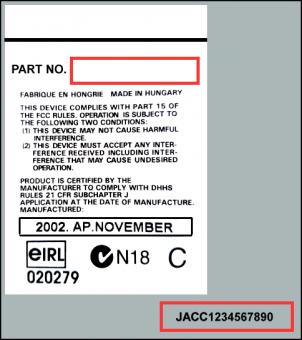 Radio Code Key ALPINE JAGUAR 2R83-18B876-AD