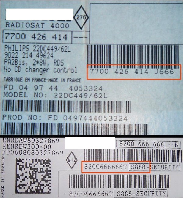 Radio Code Key RENAULT VDO RENRCW230-60 UPDATE LIST - 8200 367 488