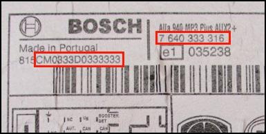 Radio-Code Bosch