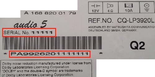 Radio Unlock Code   Auto Radio Code geeignet für Panasonic